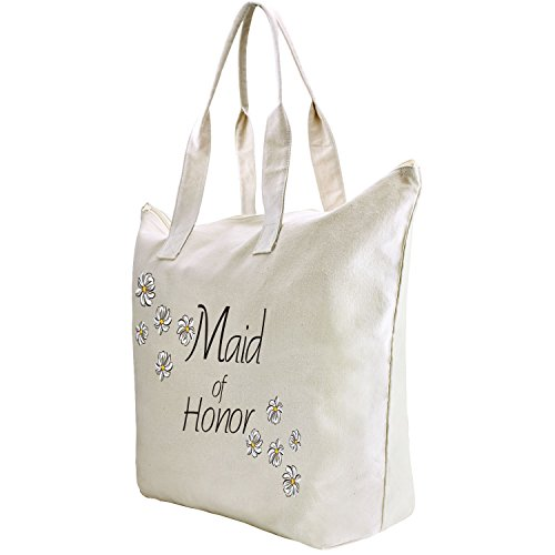 Hen Daisy Pcs Cotton Honor 1 ElegantPark 100 Tote Bag Party of Bag Zip Bridesmaid Wedding Gift Interior Maid FFq8Ywfx