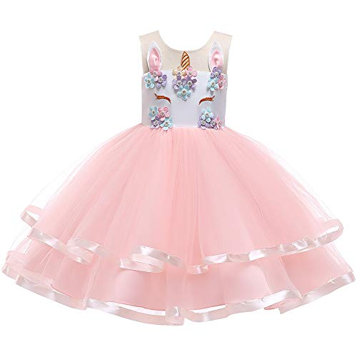 (Toddlers Kids Girls Sleeveless Tutu Dress Princess Unicorn Cosplay Photo Prop Dance Christmas Ceremony Short Evening Gown Pink Dress Only 6-7 Years )