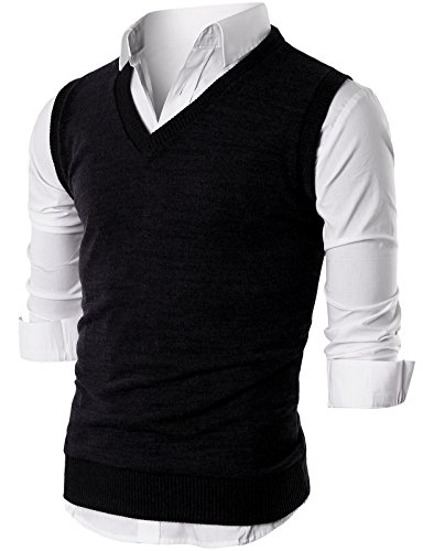 Ohoo Mens Slim Fit Casual V-Neck Knit Vest/DCV010-BLACK-L