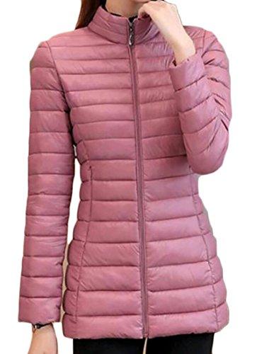 Gocgt Women's Slim Stand Collar Ultra-light Down Jacke Pink