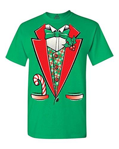 Funny Green Man Costumes (Tuxedo Christmas Costume T-shirt #12258 Funny Xmas Shirts X-Large Irish Green)