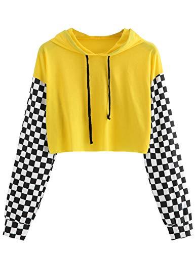 Women's Pineapple Crop Top Teen Girls Plaid Cropped Hoodie Sweater Jacket Sweatshirt Jumper Pullover Tops (P-Yellow, ()