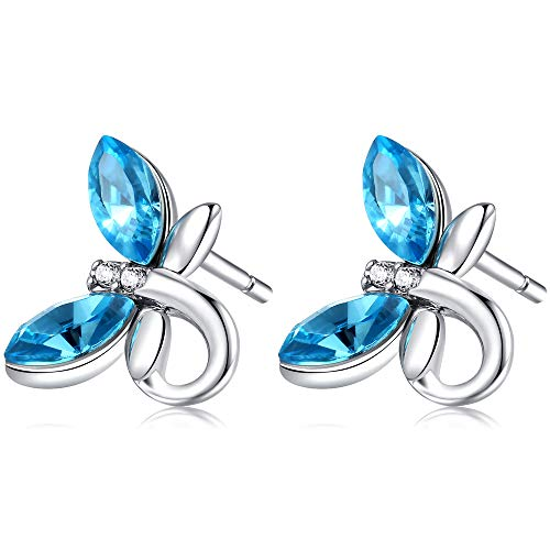 - YOURDORA Women's s925 Silver Dragonfly Stud Earrings with Swarovski Elements Crystal Gifts Boxed (Blue & Silver Arrow)