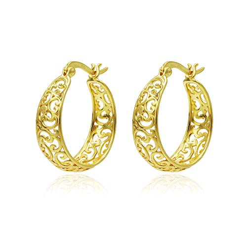 Yellow Gold Flashed Sterling Silver Filigree Hoop Earrings Medium Size 7mmx22mm For Women