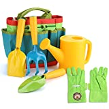 FITNATE Green Kids Garden Tools Set,6 PCS Garden Tools Including Watering Can, Shovel, Rake, Fork, Children Gardening Gloves and Garden Tote Bag, All in One Set (Multi)