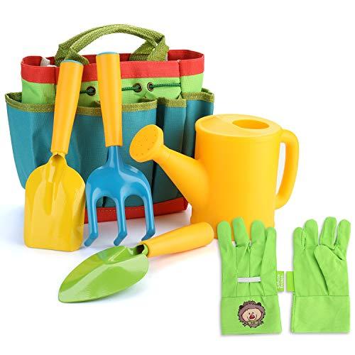 FITNATE Green Kids Garden Tools Set,6 PCS Garden Tools Including Watering Can, Shovel, Rake, Fork, Children Gardening Gloves and Garden Tote Bag, All in One Set