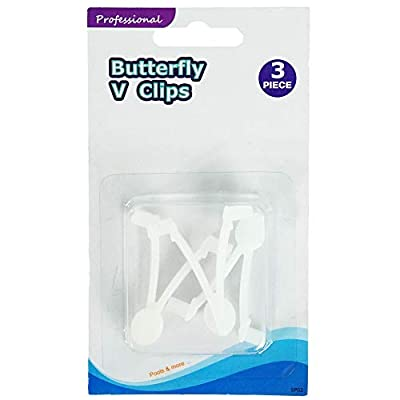 Set of 3 White EZ Quick Snap Replacement Butterfly Clips for Swimming Pool Pole Attachments 2