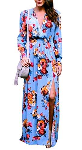 Stampa Coolred Spaccatura donne Lunga Blu V Sexy Con Fashional Vestito Maxi A Scollo Manica 4w5SwqWH