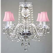 ALL CRYSTAL CHANDELIER CHANDELIERS WITH PINK SHADES H17  X W17