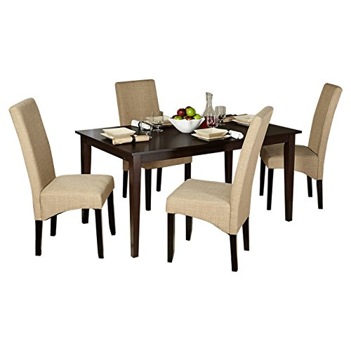 Dining Set of Five Pieces with Linen Fabric Upholstery and Rectangular Dining Table in Espresso Finish Plus FREE GIFT