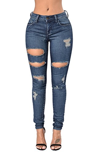 Zojuyozio Les Femmes Des Jeans Moulants A Trou Maigre Place Pantalon Pantalon Blue