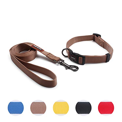 QQPETS Puppy Collar and Leash Set Dog Collars for Small Medium Big Dogs, Adjustable Collars Matching Heavy Duty Leashes Daily Walking (S, Brown) (Leash Collar Brown And)