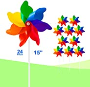 Tsocent 7 Colors Mixed Pinwheels (Pack of 24) - Party Favors Plastic Toy Pinwheels Educational Wind Spinners 2