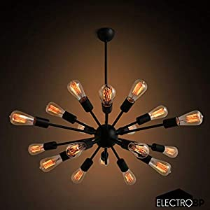 Electro_BP; Vintage Metal Sputnik Large Chandelier Edison Light Fixture Industrial Starburst Lighting with 18-Lights Black Paint Finished
