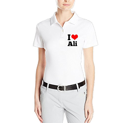 MEGGE Women's I Love Ali Sport Short Sleeves Classic Pirque Polo Shirt (The Greatest Love Of All Muhammad Ali)