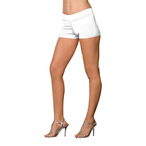 Dreamgirl Women's Roxie Hot Short, White, Small/Medium - Adult Roxie Hot Shorts