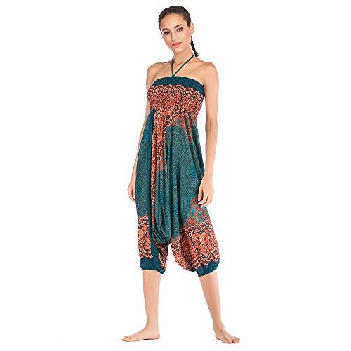 Harem Pants Women's Hippie Bohemian Yoga Pants One Size Aladdin Harem Hippie Pants Jumpsuit Smocked Waist 2 in 1 (Free, Green) by BingYELH Yoga (Image #3)