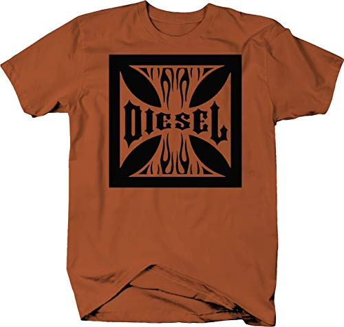 Iron Cross Truck Driver Black Smoke Coal Flames Tshirt - 2XL