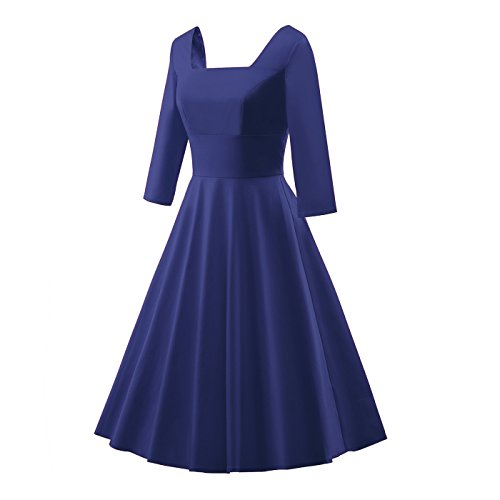 FASHIONBUY Women Vintage Square Neck Swing Evening Party Dress - Vintage Square Dance Dress