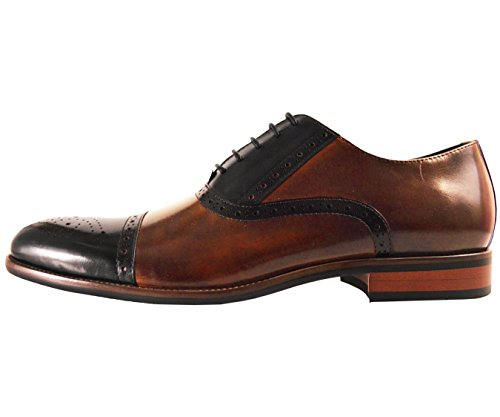 Asher Green Mens Two Tone Stitched Leather Cap Toe Oxford Dress Shoes by Asher Green (Image #1)