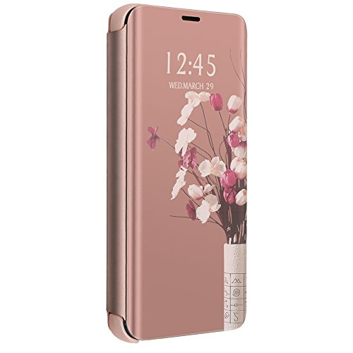 Pacyer Case for Samsung Galaxy J7 Prime, Mirror PU Leather Cover with Kickstand 360 Degree (Rose)