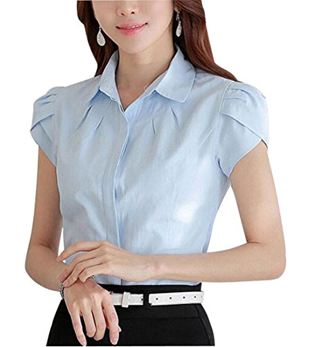 Double Plus Open DPO Lady's Cotton Formal Pleated Short Sleeve Blouse Light Blue 16