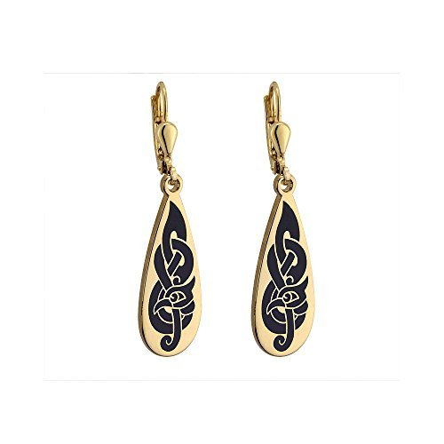 Tear Drop Earrings Gold Plated & Black Made in Ireland by Tara