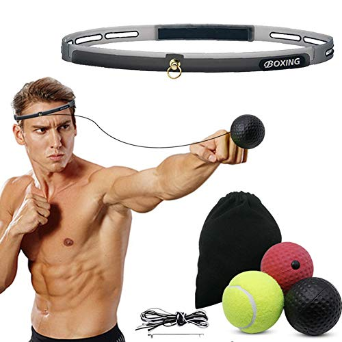 Hausse Boxing Reflex Ball, Punching Ball for Training, Reaction Ball Kit Improve Speed, Equipment with 3 Level Fight Balls and Head Band