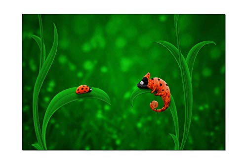 Pigbangbang Canvas Prints Decor - Chameleon and Ladybug Funny Watercolor Giclee with Hook Ready to Hang for Home Decoration 6