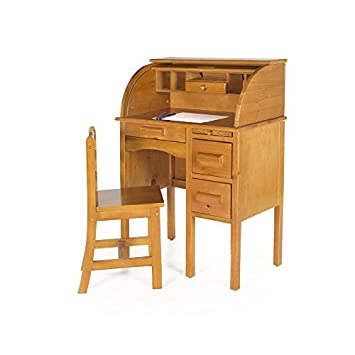 Guidecraft Jr. Roll Top Study Desk And Chair Set Light Oak Storage Shelf,