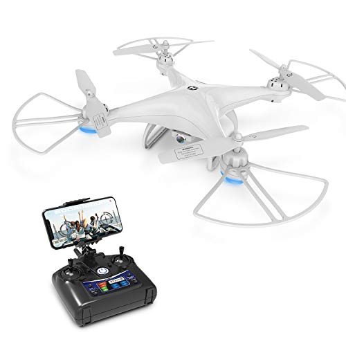 Holy Stone HS110D RC Drone with Camera 720P HD FPV Live Video 120° Wide-Angle Quadcopter for Kids and Beginners with Altitude Hold, Headless Mode, 3D Flips and RTF Modular Battery, Color White