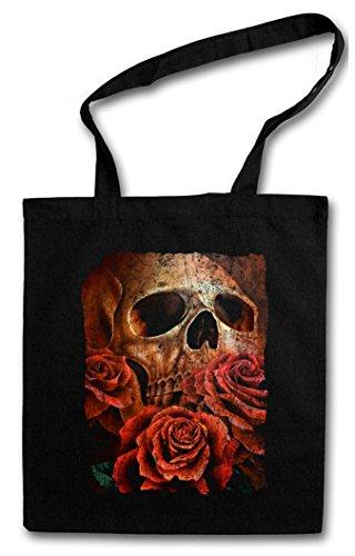 SKULL OF THE ERIC Hipster Shopping Cotton Bag Borse riutilizzabili per la spesa – cranio e le rose Roses Schädel Tattoo Totenschädel mit Rosen Death Dead