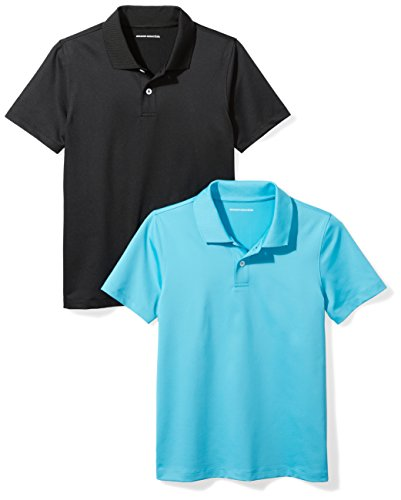 Amazon Essentials Boys' 2-Pack Performance Polo, Canyon Blue/Black, M (8) by Amazon Essentials (Image #1)