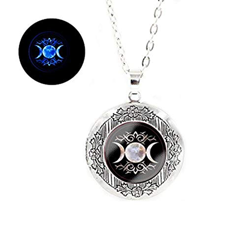 Laco/1925 Glowlala@Triple Goddess Glowing Locket Pendant, Wiccan Glowing Locket Jewelry, Moon Goddess Glowing Locket Jewelry, Wiccan Glowing Necklace (Silver) ()