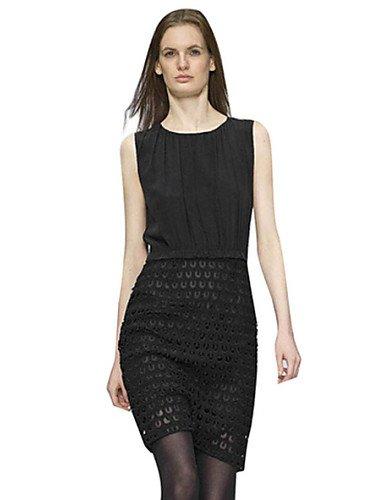 PU&PU Robe Aux femmes Moulante Simple,Couleur Pleine Col Arrondi Au dessus du genou Polyester , black-m , black-m