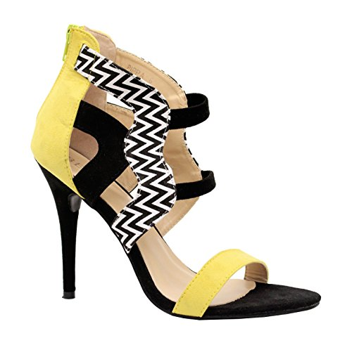 Yellow SAUTE Sandales Zebra femme Gladiator STYLES Black Strappy Summer pour IIwSF