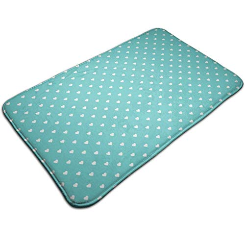 (Turquoise Polka Dot Hearts,Kitchen Carpet Rug Door Mat Rug for Bathroom Outdoor Porch Laundry Living Multifunction Doormat (19.5