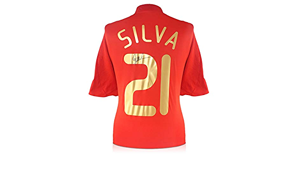exclusivememorabilia.com Camiseta de fútbol de España 2007-09 firmada por David Silva: Amazon.es: Deportes y aire libre