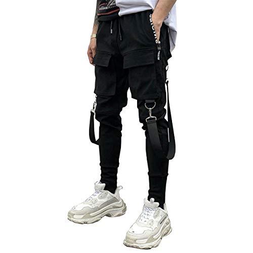 Astellarie Mens Casual Pants Multi-Pockets Fashion Cargo Joggers Gym Drawstring Long Pants