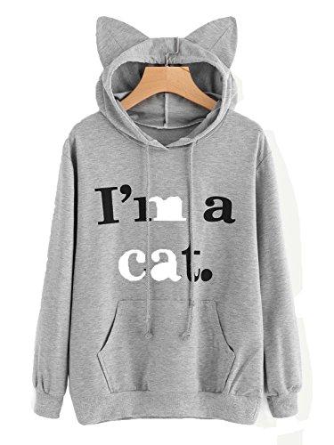 じゃない海洋の過半数Imcute 最新品 レディース トレーナー パーカー ゆったり 綿 アウター 長袖セーター 猫柄/猫帽子