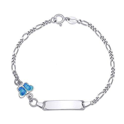 UNICORNJ Childrens Sterling Silver 925 ID Bracelet Figaro Chain Cute Butterfly with Blue Enamel 6.5