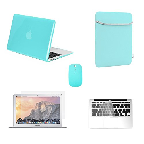 TOP CASE - 5 in 1 Omni Bundle Crystal Hard Case, Sleeve Bag, Keyboard Cover, Screen Protector, Mouse Compatible MacBook Air 13