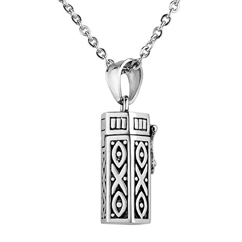 HooAMI Stainless Steel Prayer Box Necklace Tubular Shape Locket Pendant Memorial Jewelry Antique Silver ()