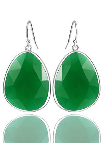 22 Carat Natural Green Onyx Gemstone Drop Dangle Earrings Sterling Silver Gemstone Jewelry Gift for Women Christmas Birthday or Anniversary (Green Onyx Earrings)