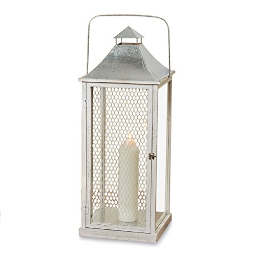 Farmers Market Chicken Wire Candle Lantern, White Washed Wood, For Votives and Pillars, Distressed Shabby Finish, Galvanized Metal, Rustic Roof, Vintage Style, 3 Feet Tall, (35 1/2 H Inches)