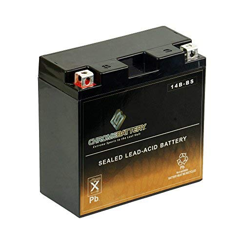 Chrome Battery YT14B-BS Chrome High Performance - Maintenance Free - Sealed AGM Motorcycle Battery