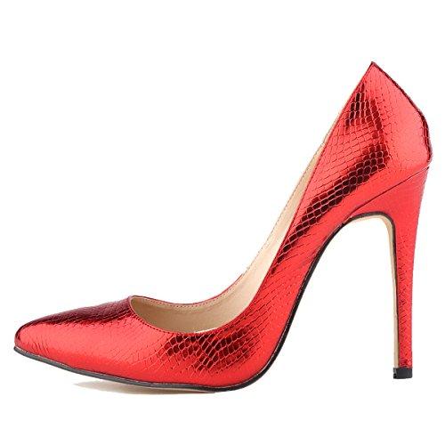 Disegno Loslandifen Piccolo Alti Lavoro Coccodrillo Pompe Donne Rosso Tacchi Cuspide Di RwqrR5E