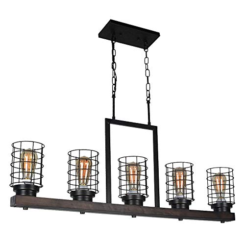Beuhouz Farmhouse Kitchen Island Lighting, Metal and Wood Pool Table Light Rustic Cage Linear Chandelier 5 Lights Edison E26 8015