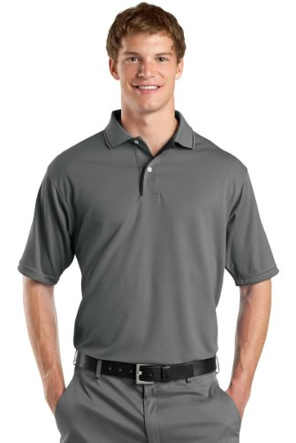 S/s Tipped Collar - Sport-Tek Men's Dri Mesh Polo with Tipped Collar and Piping S Steel/Black