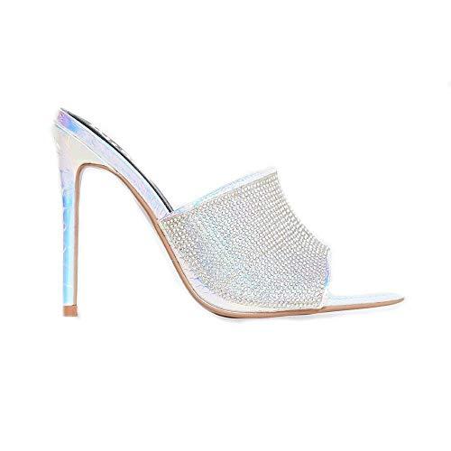 Shoes2Die4 Cape Robbin Iridescent Suede Rhinestone Embellished Pointed Open Toe Mule Heel